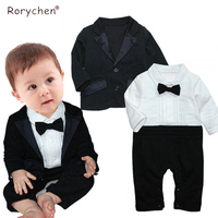 Rorychen 2018 New Gentleman Baby Clothing Set Rompers Coat Party Wedding Costumes Formal Tuxedo Suit Newborn