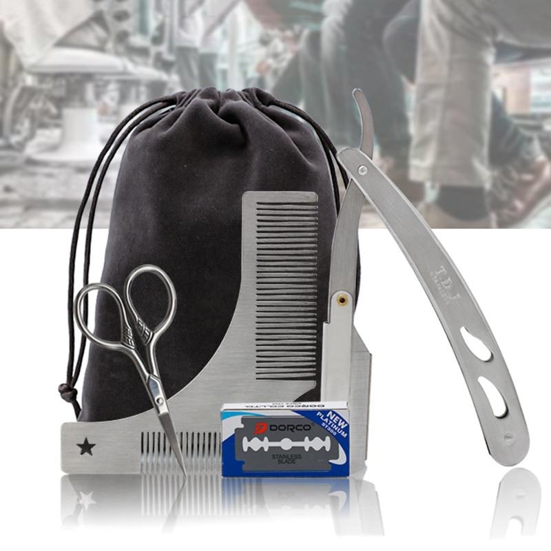 Beard Comb Razor Scissor Razor Blades Beard Styling Set For Men Hair Care Stainless Steel Ideal for Men