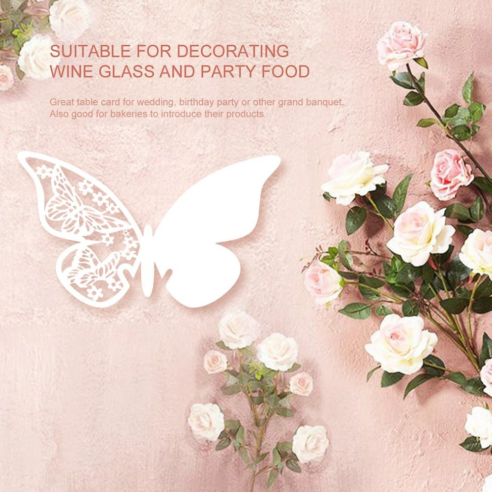 100pcs laser cut table name card place card wedding party decoration pearlescent paper butterfly heart