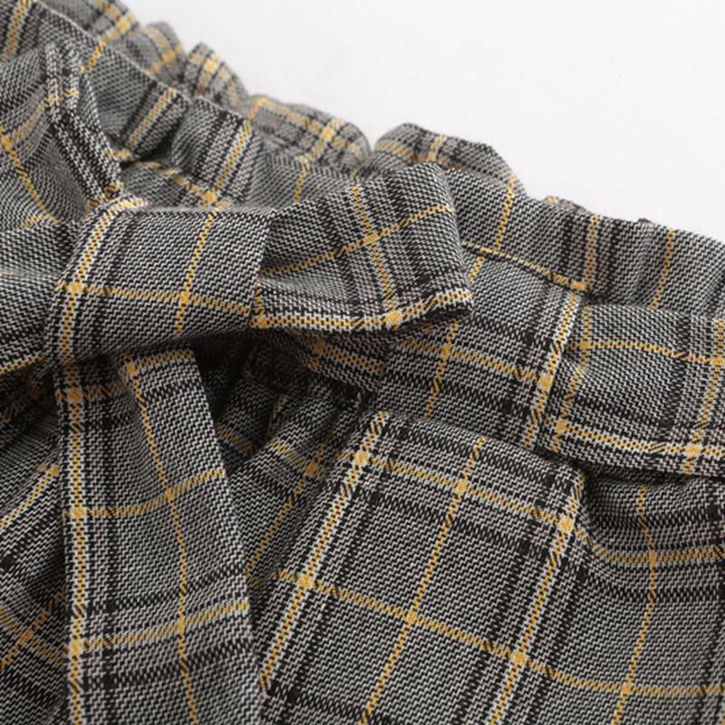 99eaa751a354b3 JYSS herfst nieuwe casual elastische taille broek vrouwen riem geel grijs  geruite broek lange rechte broek vrouwen active wear 81221 in JYSS herfst  nieuwe ...