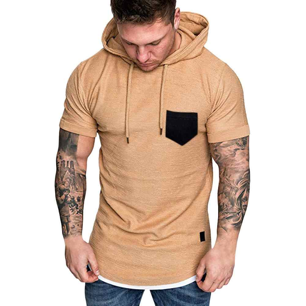 2019 Desain Baru Olahraga Kemeja Pria Berkerudung T-shirt Padat Lengan Pendek Kebugaran Tshirt Pakaian Jogging Menjalankan Penjaga Ruam Pria Gym Kemeja