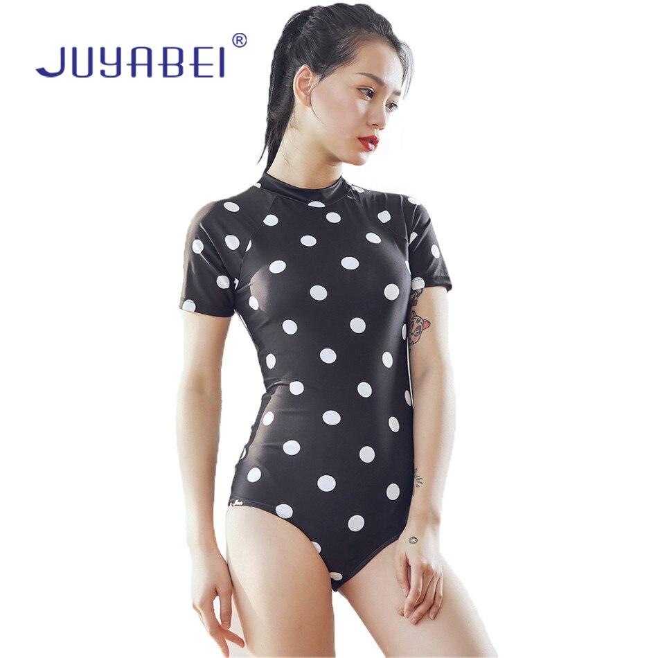 JUYABEI Women Polka Dot Print Zipper Back Short Sleeve Padded Swim Wear Swimsuit Surfing Wetsuit One-piece Sunscreen Swimwear