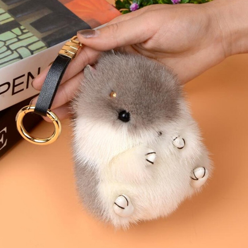2017 New 13 CM Cute Puffy Rabbit Hamster Keychain Keychain Mink Mouse Pom Pom Ladies Handbag Keyboard Doll Toy Key Ring embroidered tape and pom pom trim halter top