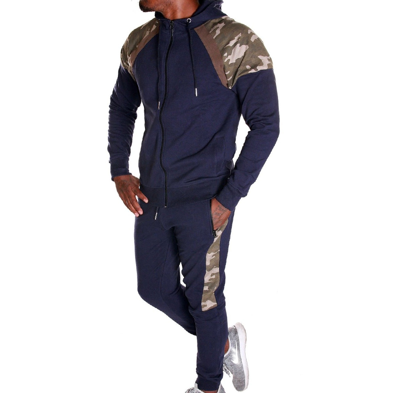 ZOGAA Brand New Men Two Piece Sets Fashion Tracksuit For Men Zipper Hooded Sportswear Sweat Suit