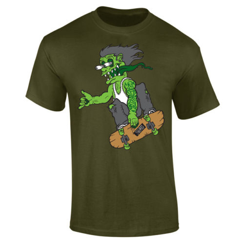 Mens Zombie Monster Skater Skateboard T shirt S XXXL New T Shirts Funny Tops Tee New Unisex Funny Tops in T Shirts from Men 39 s Clothing