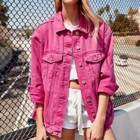Boyfriend Denim Jacket Autumn Womens Coats 2018 New Pink Red Green Black Lapel Single Breasted Casual Fall Jeans Streetwear