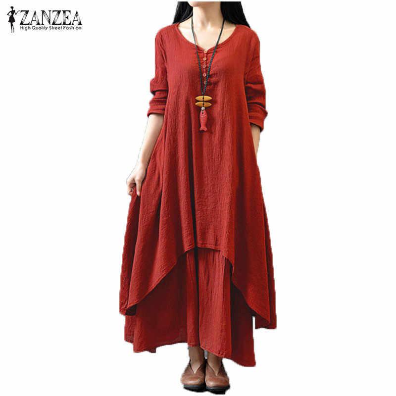 Zanzea Демисезонный 2019 модные женские туфли Повседневное свободные с длинным рукавом и v-образным вырезом, однотонное платье с длинными Maxi Dress Vestidos плюс Размеры 5XL