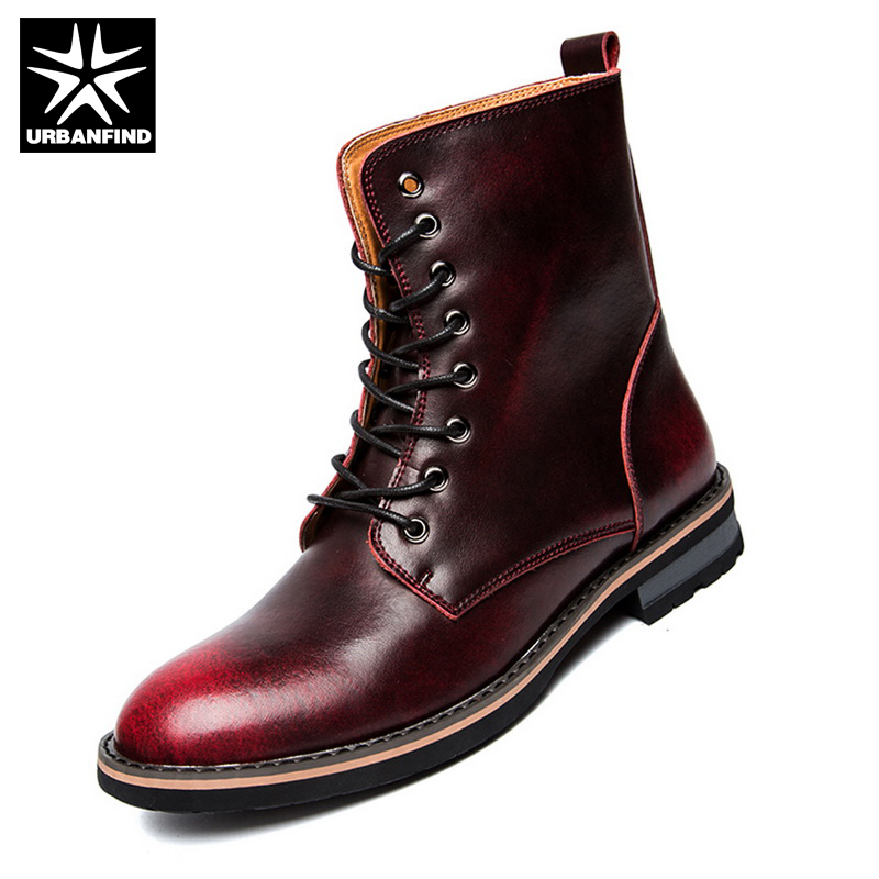 URBANFIND Hot Selling Men Military Shoes Leather Martin Boots EU 38-44 Men Winter Lace-Up Fashion Shoes Brown / Wine Red
