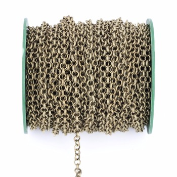5meters 3.2mm Necklace Rolo Chains Bulk Necklace Findings Gold Silver Color Metal Iron Open Link Chains For Jewelry Making