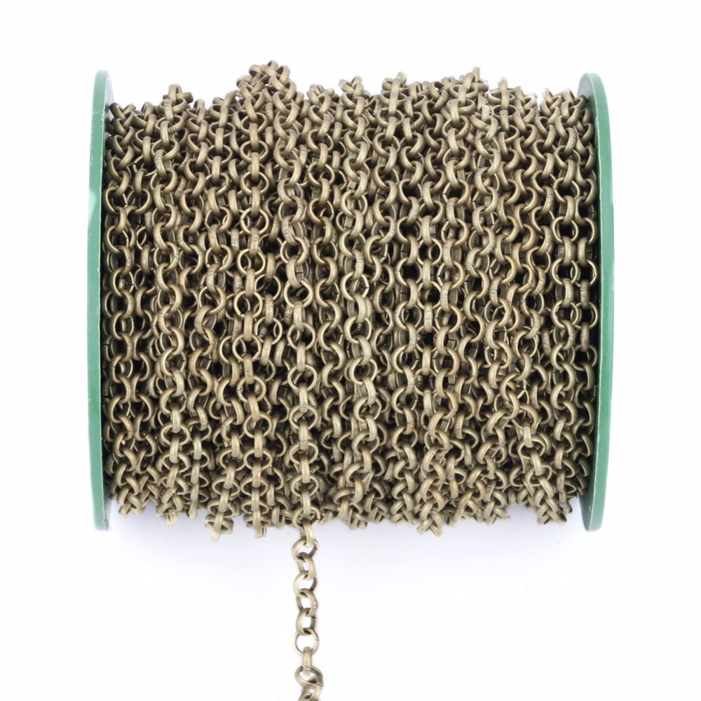 купить 5mters/lot 3.2mm Metal Necklace Chains Bulk Antique Bronze/Gold/Silver Color Rolo Chains For DIY Jewelry Making Z644 по цене 189.71 рублей