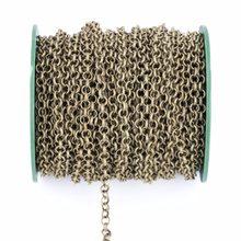 5 medidores de 3.2mm colar rolo correntes em massa colar descobertas ouro prata cor metal ligação aberta correntes para fazer jóias