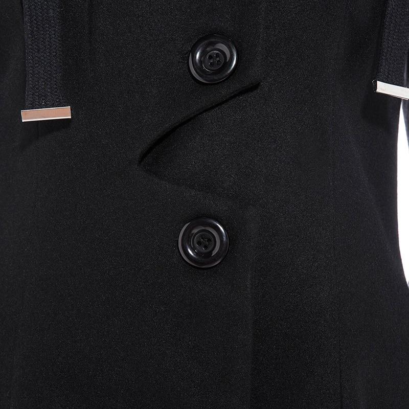 Kinikiss femmes hiver Long Trench manteau noir gothique col rabattu bouton Vintage pardessus tunique jupe Slim dame vêtements Outwear manteaux - 4