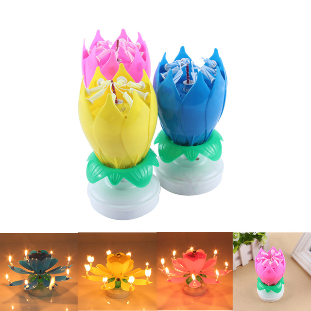 Electric Led Birthday Candle For Cake Musical Lotus Flower Art Candles Rotating Lights Lamp Happy