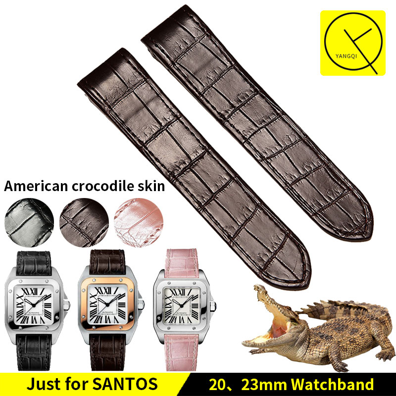 Watchband Colorful Genuine Leather Crocodile for Cartier Santos 100 WatchBand Bracelet 20/23mm Man Woman Watch+Tools Black Pink cartier santos de cartier