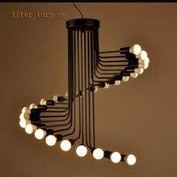 Американский кантри Лофт ретро подвесной светильник Минималистский Кофе музей кованого железа ресторан бар винтовая лестница лампа