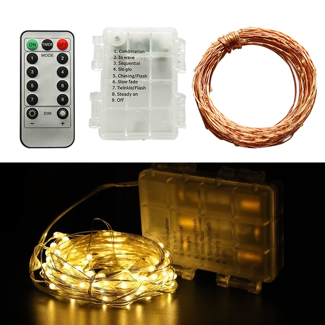 5/10M Waterproof Remote Control Fairy Lights Battery Operated LED Lights Decoration 8 Mode Timer String Copper Wire Christmas5/10M Waterproof Remote Control Fairy Lights Battery Operated LED Lights Decoration 8 Mode Timer String Copper Wire Christmas