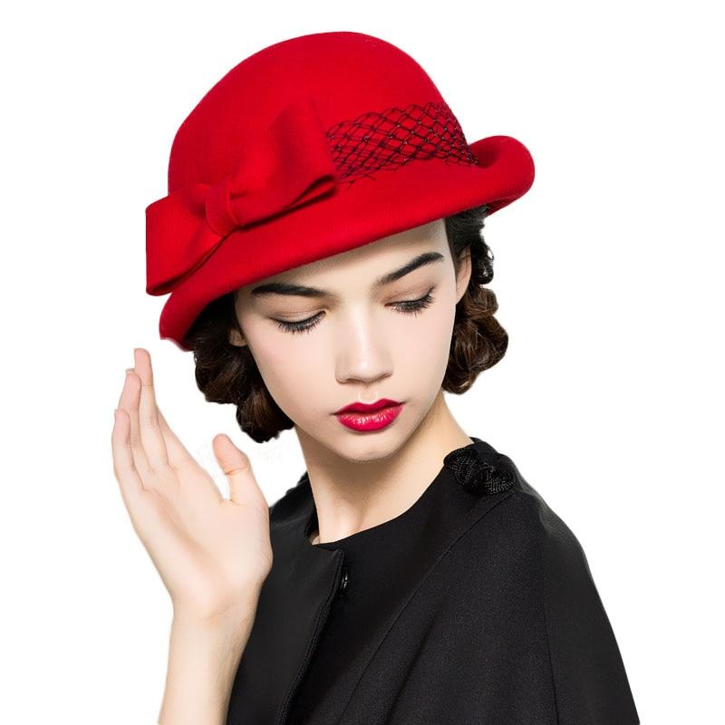 07d05723c8bae QPALCR New Elegant Women Wool Fedora Hat Dome Feather Bow Decoration Wool  Felt Hats Korean version Female Cute Trendy Bowler Cap