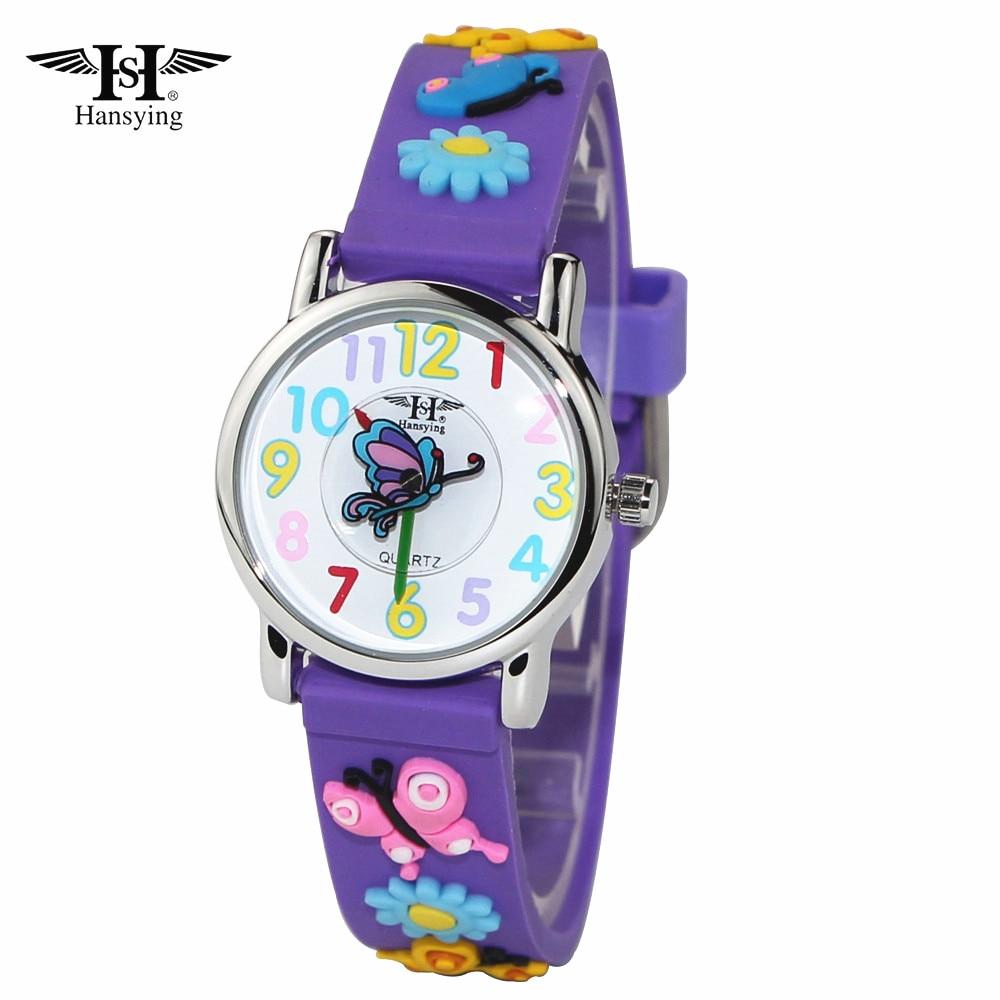 नई आगमन हंसते हुए ब्रांड के बच्चे 3 डी बटरफ्लाई का पट्टा क्वार्ट्ज घड़ी बच्चे लड़कियों लड़कों को जलरोधक घड़ियाँ छात्र घड़ी रिले