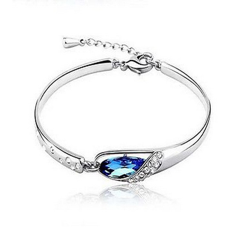 2018 Fashion Jewelry New Crystals Women Bracelet Blue Silver