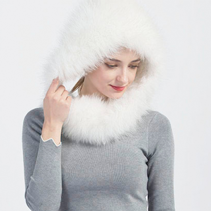 Aorice 2017 New Fashion Winter Women Russian Solid Real Fox Fur Snow Cap  Bomber Hats Warm Comfort Collar Scaft Neckerchief HF712-in Bomber Hats from  Apparel ... 2785714a50c4