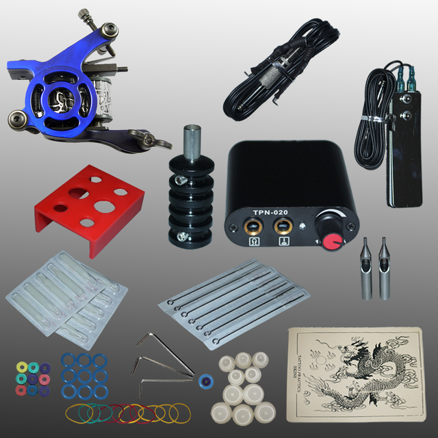 Complete Tattoo kits tattoo guns machine black tattoo machine power supply disposable needle free shipping 1100487-3kit