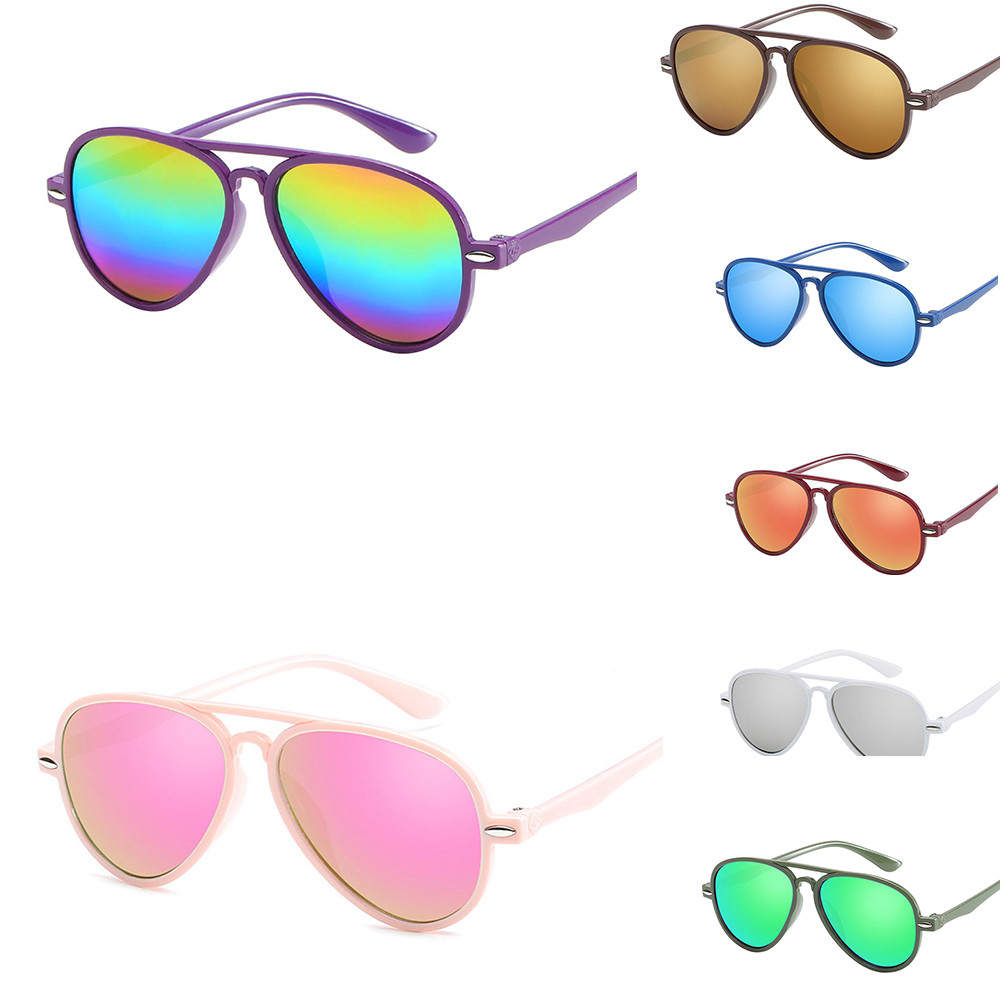 Fashion Boy Girl Glasses Retro Kid Sunglasses Children SunGlasses Anti-UV Protection Oculos De Sol Gafas Color Film Goggles #30(China)