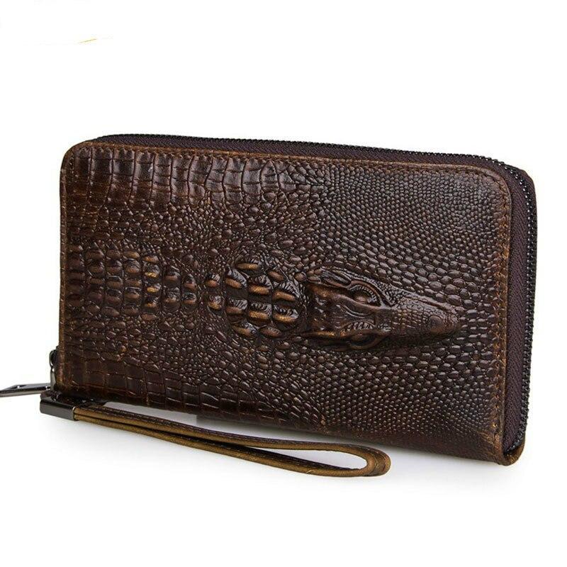100% Genuine Leather Male Clutch Wallets Vintage Cowhide Crocodile Pattern Men Long Purse Capacity Hand Take Notecase PR558085 платья tantra платье