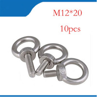 M12*20 304 Stainless Steel Lifting Eye Bolts Round Ring Hook Bolt 10pcs