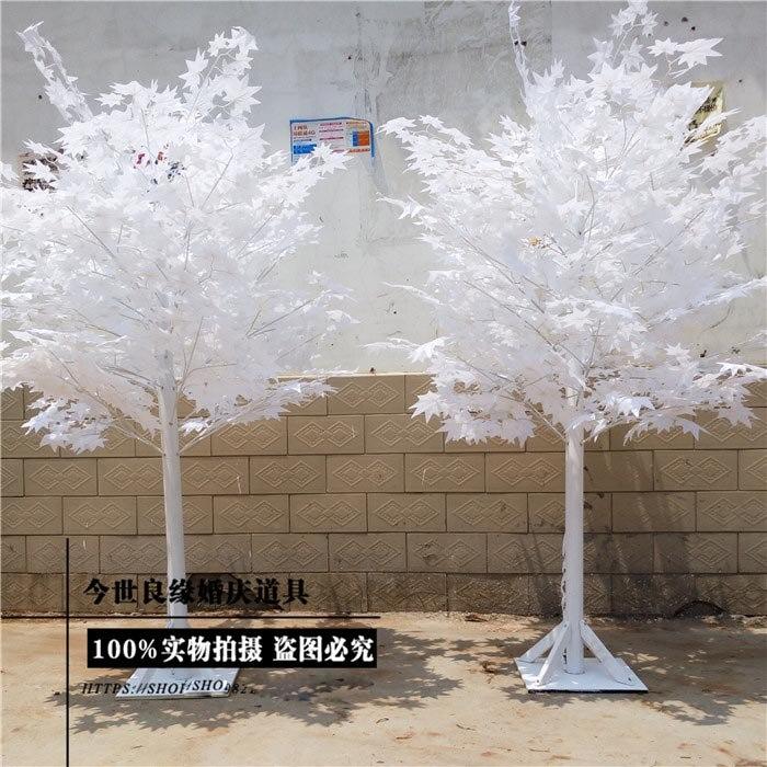 Árbol de imitación blanco de 1,8 m de altura para Bodas/hojas blancas, tienda de decoraciones de boda - 3