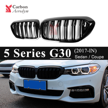 A pair ABS Plastic Front  Racing Grill For BMW 5 Series G30 G31 F90 Gloss Black 2-Slats Kidney Grille 2017+ 520i 530i 540i for bmw g30 m5 style kidney abs plastic black and m colour auto car styling front racing grill grille for bmw g30 new 5 series