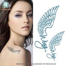 Rocoo Art Waterproof Tattoo Sticker Female Models English Wing Eagle Wings And A Small Fresh Temporary Tattoo Sticker HC1005