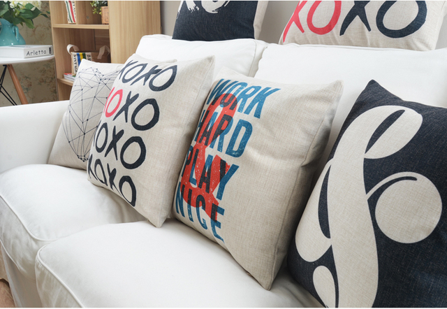 Simple Modern Decorative Cushion English Symbols Cushions Home Decor Nordic Countryside Style Sofa Customized