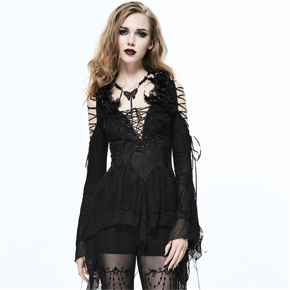 Punk Women Sexy Deep V Neck Lace Shirts Slim fitting Embroidered Skinny T Shirts Flare Sleeve Spring Tee Tops