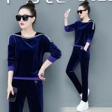 Pleuche suits women spring autumn Korean fashion new design loose outfit two-piece clothing set lady vestido leisure velvet
