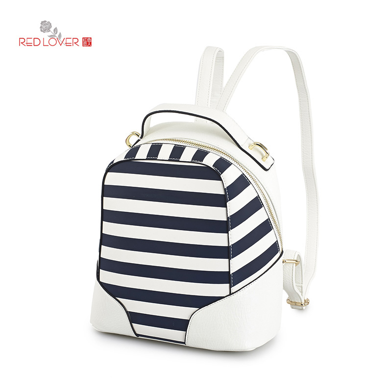 ФОТО Red Lover Lady's backpack Striped double handle shoulder bag Preppy style PU leather backpacks Teenagers Totes