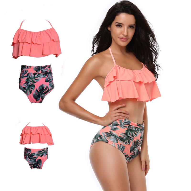 Mom And Daughter Swimsuit Mommy And Me Swimwear Bikini Household Matching Garments Outfits Look Mother Mum Child Clothes Clothes
