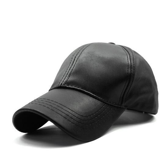 Homens Bonés De Beisebol Caminhoneiro chapéu pai camurça preta de couro PU Ajustável Caps Chapéus de Sol