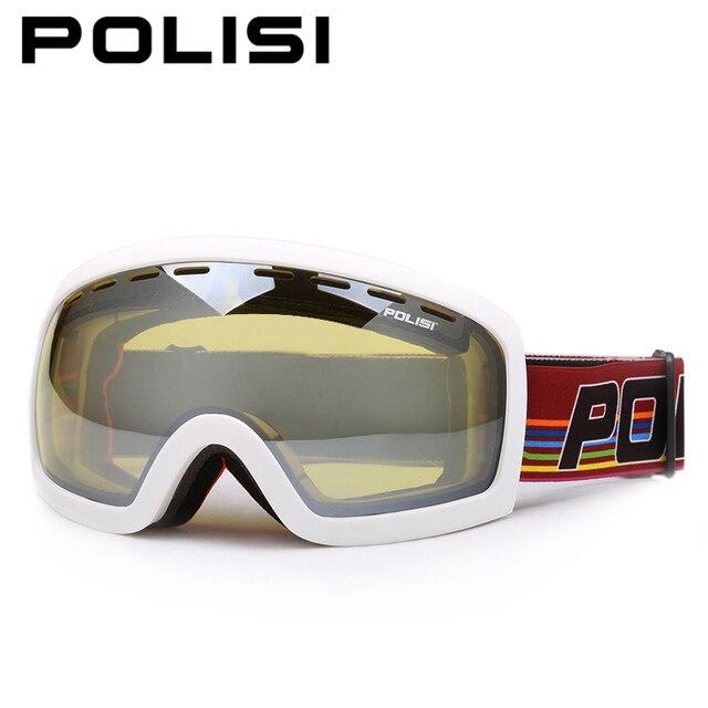 3dd9babbb421 POLISI Men Women Skiing Skate Goggles Double Layer Anti-Fog Yellow Lens Snow  Glasses UV Protection Winter Snowboard Ski Eyewear