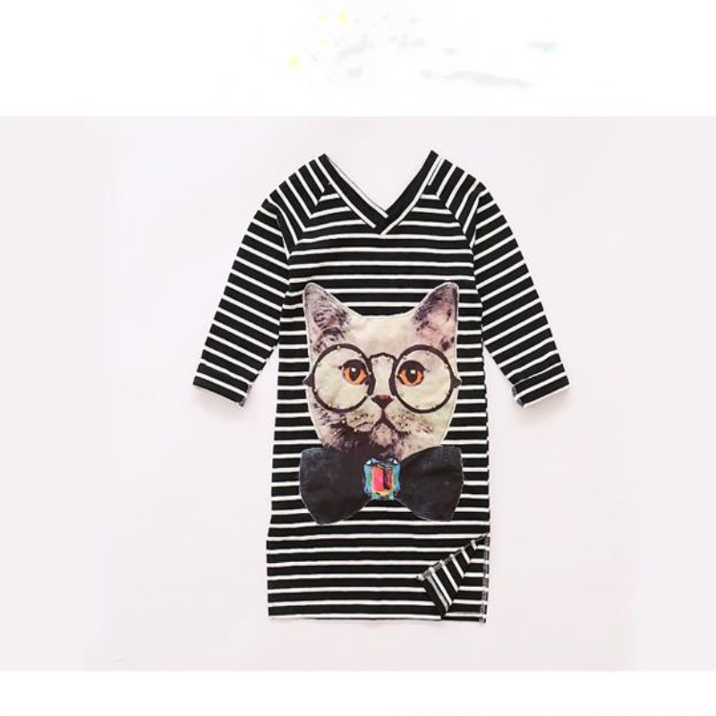 Malayu Baby Lolita style 2018 spring summer new large girl striped V neck dress, cartoon cat long sleeve dress 4-10 year-old gir