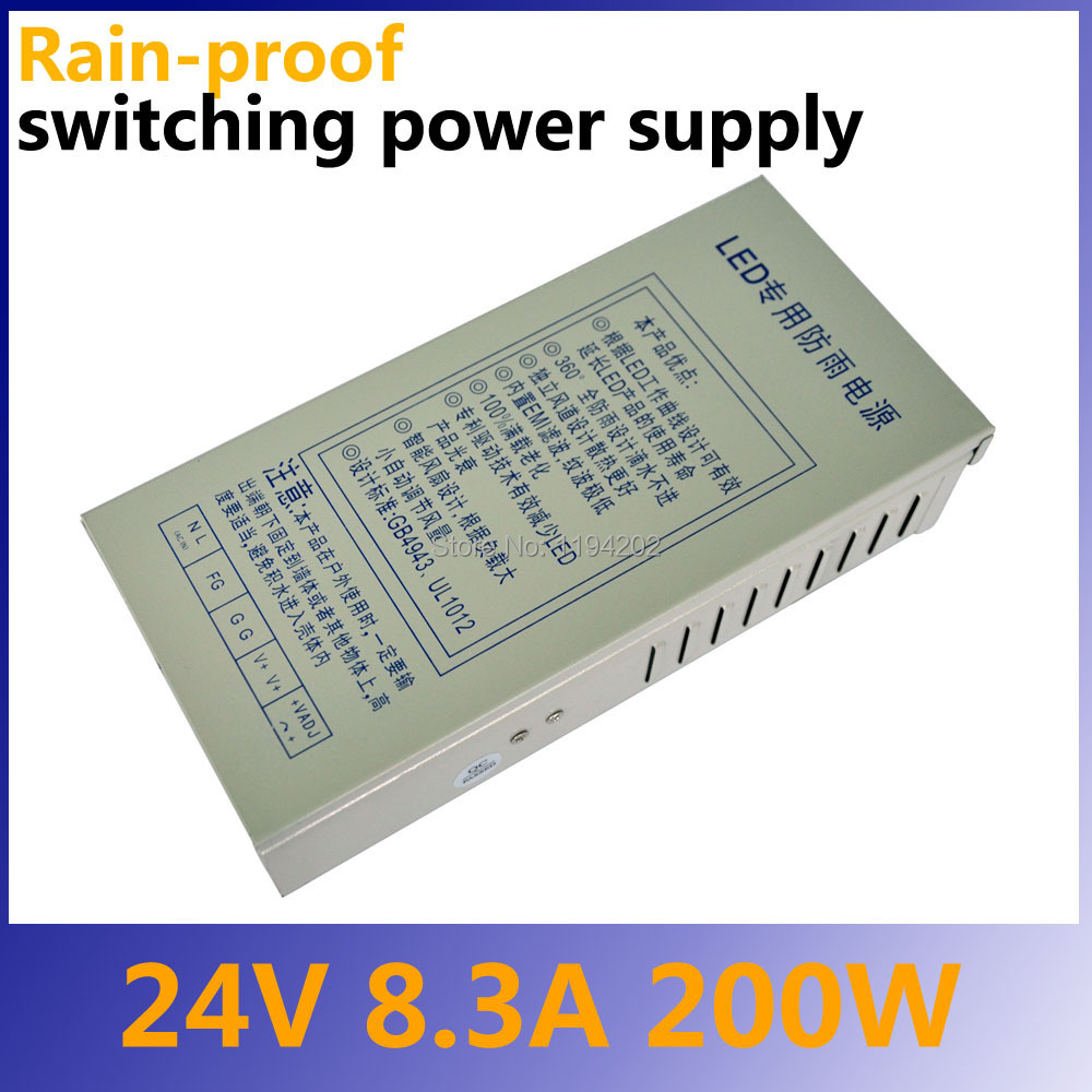 Ac to Dc 24V 200W Rainproof switching power supply for Led 6es7284 3bd23 0xb0 em 284 3bd23 0xb0 cpu284 3r ac dc rly compatible simatic s7 200 plc module fast shipping