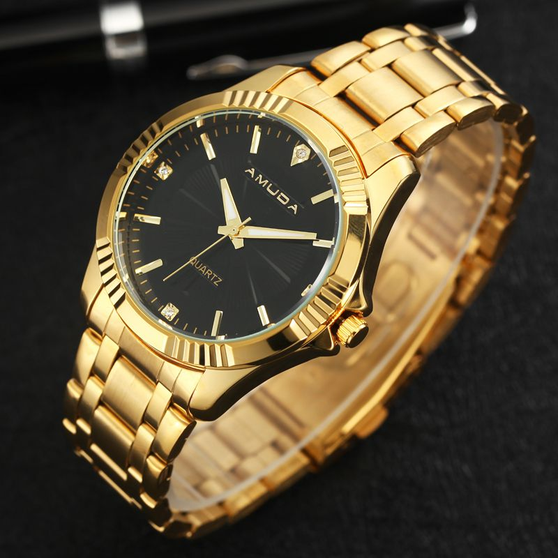 AMUDA 2018 Fashion Full Steel Quartz Watch Mens Golden Business Wrist Watches Casual Brand Luxury Clock Saat Relogio Masculino 2018 amuda gold digital watch relogio masculino waterproof led watches for men chrono full steel sports alarm quartz clock saat