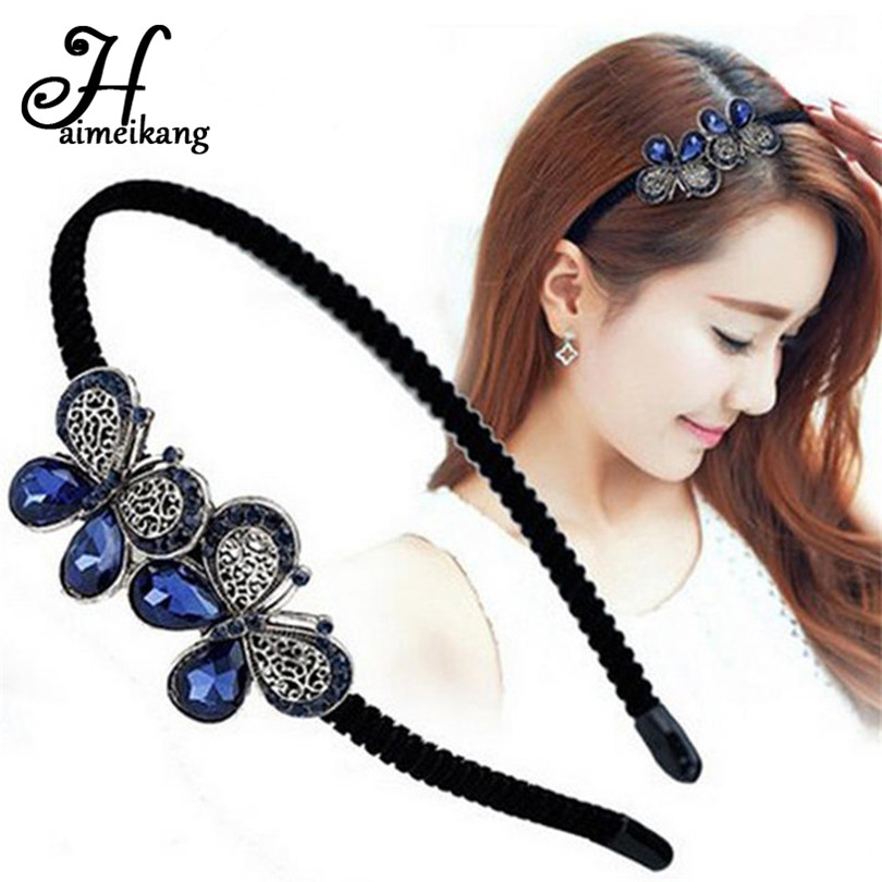 Haimeikang Headband of Women Handmade Bezel Flower Crystal Rhinestone Hairband Hair Band Hair Clasp Hair Accessories Headwear vintage bohemian ethnic colored tube seed beads flower rhinestone handmade elastic headband hair band hair accessories