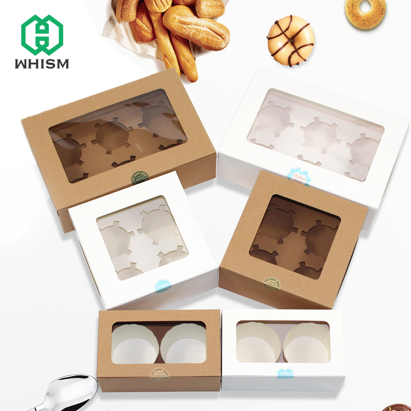 2/4/6 Holes Cupcake Muffin Box Cake Cup Packaging White Kraft Paper Bottom Bracket Pudding Pastry Marvin Boxes For Gift Party