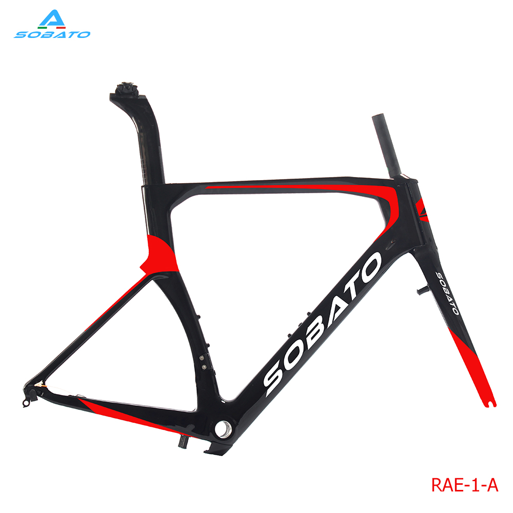 SOBATO cycling carbon BSA road bike frame with paint color 45/49/52/54/56/58/60cm track frame fixed gear frame bsa carbon 1 1 2to 1 1 8 bike frameset with fork seatpost road carbon frames fixed gear frameset