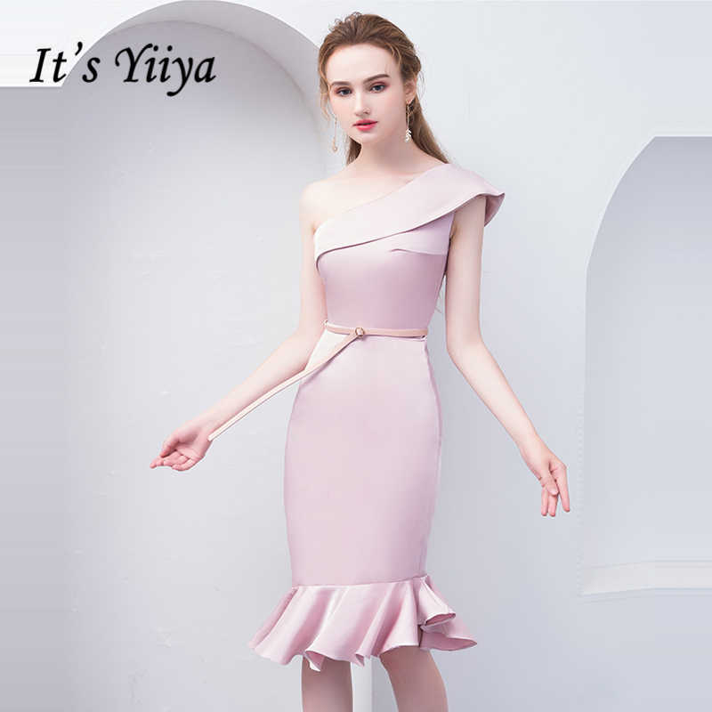 It s Yiiya Prom Dresses Sleeveless Mermaid One Shoulder Girls Prom Gowns  Sashes Elegant Party Dresses Formal 86ea60d48ffc