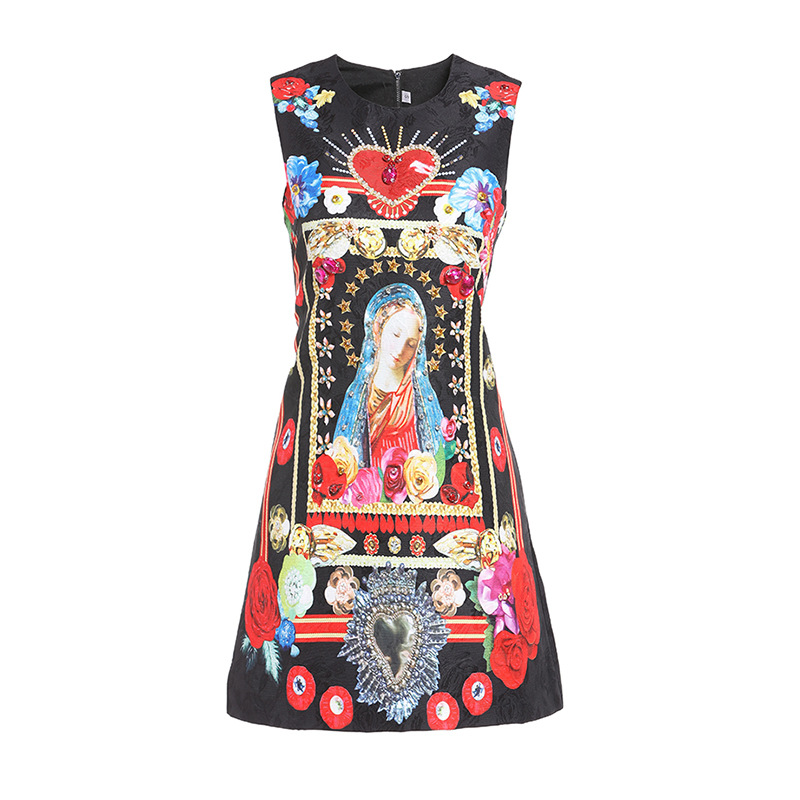 New 2019 summer diamonds jacquard dress Fashion women's sleeveless A line dress A186