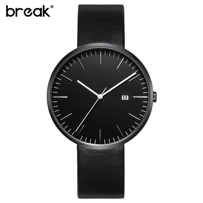 BREAK Fashion Men Women Simple Watches Black business Quartz-Watch Waterproof Leather Male Ladies Clock Mens Watch Montre Homme onlyou men s watch women unique fashion leisure quartz watches band brown watch male clock ladies dress wristwatch black men