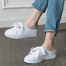 NAYIDUYUN    White Punk Slippers Women Shoes Genuine Leather Wedges Low Heel Slides Outside Platform Pumps Party Sneaker Oxfords