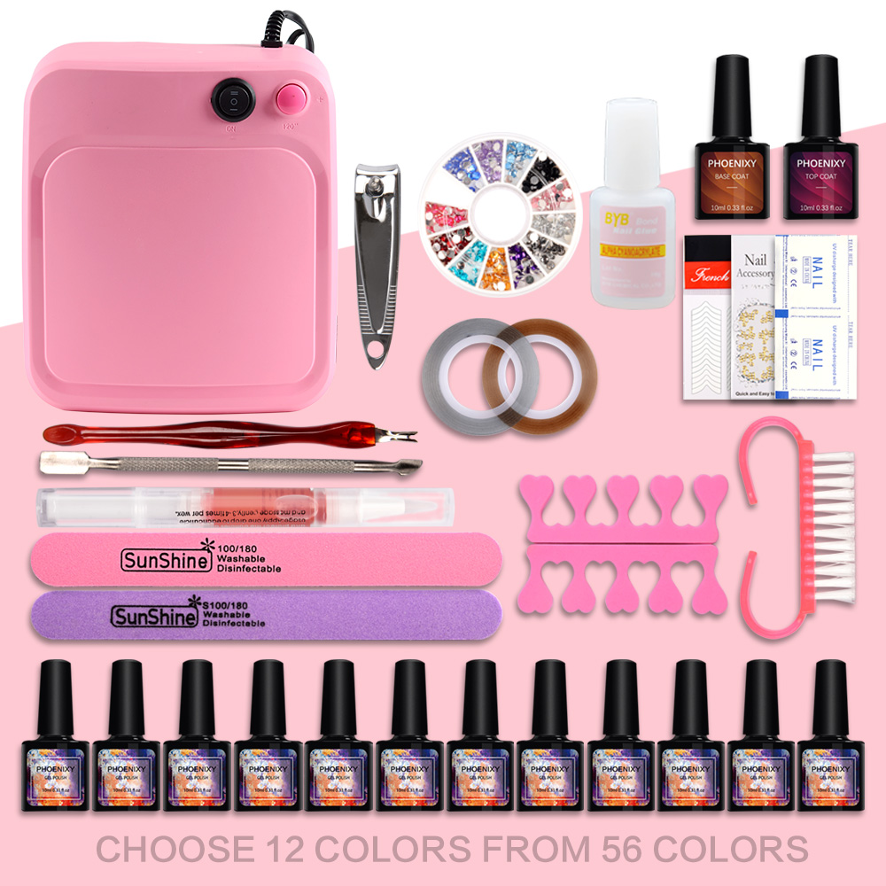 Nail Art Set 36W UV LED LAMP Dryer & 12 Color Gel Nail Polish Set Kit Nail Tools Gel Varnish Lacquer Manicure Tools Kit