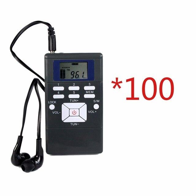 100 шт. DSP Радио Портативный Радиоприемник FM Карман Радио для Большой конференц-зал с Наушников Лучший Y4305